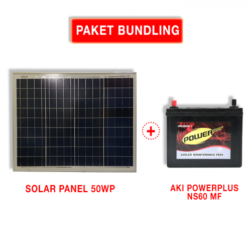 Paket Panel Surya Solar Cell 50WP dan Aki Kering NS60 12V45A Powerplus